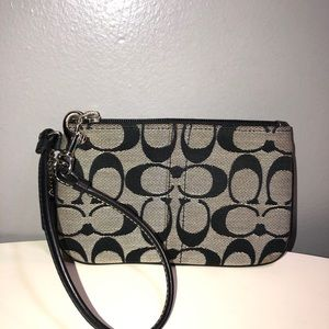 Vintage coach monogram canvas wristlet